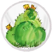 Cactus In The Yellow Flower Watercolor Painting By Kmcelwaine Round Beach Towel