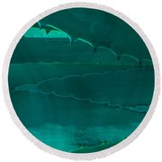 Cactus Leaf Abstract Round Beach Towel
