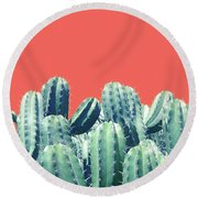 Cactus On Coral Round Beach Towel