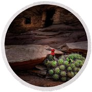 Cactus On Fire Round Beach Towel