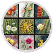 Round Beach Towel featuring the painting Cactus Series by Marilyn Smith