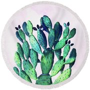 Cactus Three Ways Round Beach Towel