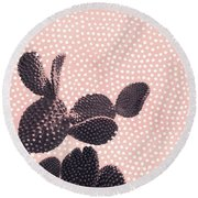 Cactus With Polka Dots Round Beach Towel
