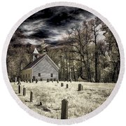 Cades Cove Church Round Beach Towel