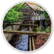 Cades Cove Grist Mill In The Great Smoky Mountains National Park  Round Beach Towel