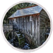 Cades Cove Grist Mill In Winter Round Beach Towel