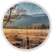 Round Beach Towel featuring the photograph Cades Cove, Spring 2017 by Douglas Stucky