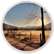Round Beach Towel featuring the photograph Cades Cove, Spring 2017,i by Douglas Stucky