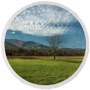 Cades Cove Tennessee Round Beach Towel by Lena Auxier