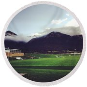 Round Beach Towel featuring the photograph Cadet Athletic Fields by Christin Brodie