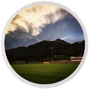 Round Beach Towel featuring the photograph Cadet Soccer Stadium by Christin Brodie