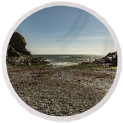 Round Beach Towel featuring the photograph Cadgwith Cove Beach by Brian Roscorla