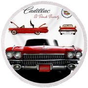Round Beach Towel featuring the photograph Cadillac 1959 by Gina Dsgn