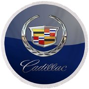 Cadillac 3 D  Badge Special Edition On Blue Round Beach Towel
