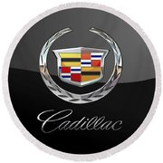 Cadillac - 3d Badge On Black Round Beach Towel by Serge Averbukh