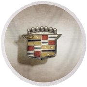 Cadillac Badge Round Beach Towel by YoPedro