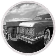 Cadillac Coupe De Ville 1971 In Black And White Round Beach Towel