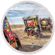 Cadillac Ranch 1 Round Beach Towel