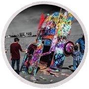 Round Beach Towel featuring the photograph Cadillac Ranch Spray Paint Fun Along Historic Route 66 By Amarillo Texas by Randall Nyhof