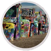 Cadillac Ranch Round Beach Towel
