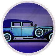 Cadillac V16 1930 Painting Round Beach Towel