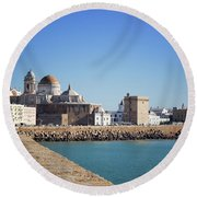 Round Beach Towel featuring the photograph Cadiz Cathedral Andalusia by Lynn Bolt