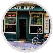 Cafe Brun In L'orient France Round Beach Towel