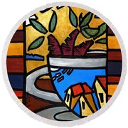 Round Beach Towel featuring the painting Cafe Caribe  by Oscar Ortiz