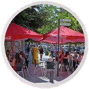 Round Beach Towel featuring the photograph Cafe Chat - Granada by Phil Banks