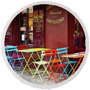 Cafe Color - Paris, France Round Beach Towel by Melanie Alexandra Price