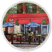 Cafe Frejus Verdun Round Beach Towel by Reb Frost
