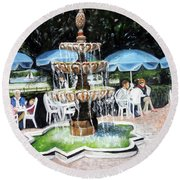 Cafe Gallery Round Beach Towel