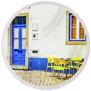 Cafe In Portugal Round Beach Towel