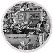 Cafe Lady Catherine Black And White Round Beach Towel