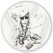 Cafe Lady Round Beach Towel