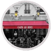 Cafe Le Buci Round Beach Towel