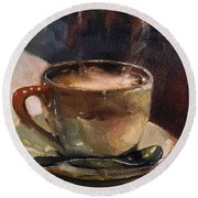 Cafe Love Coffee Painting Round Beach Towel by Michele Carter