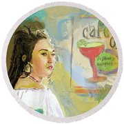 Cafe Ole Girl Round Beach Towel
