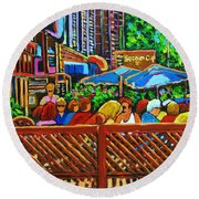 Round Beach Towel featuring the painting Cafe Second Cup by Carole Spandau