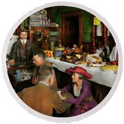 Round Beach Towel featuring the photograph Cafe - Temptations 1915 by Mike Savad