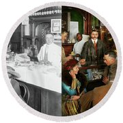 Round Beach Towel featuring the photograph Cafe - Temptations 1915 - Side By Side by Mike Savad
