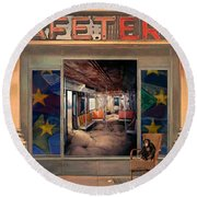 Round Beach Towel featuring the painting Cafeteria by Mojo Mendiola
