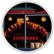 Caffe Trieste Espresso Window Round Beach Towel