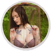 Caged Beauty Round Beach Towel
