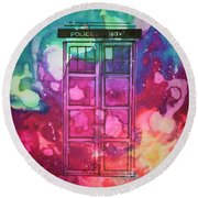 Round Beach Towel featuring the drawing Caia's Tardis by Justin Moore
