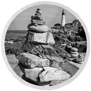 Round Beach Towel featuring the photograph Cairn And Lighthouse  -56052-bw by John Bald