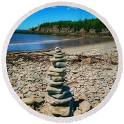 Cairn In Eastern Canada Round Beach Towel