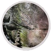 Cairn Rock Stack At Jones Gap State Park Round Beach Towel