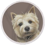 Round Beach Towel featuring the painting Cairn Terrier - Dave by Donna Mulley