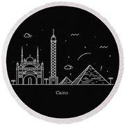 Cairo Skyline Travel Poster Round Beach Towel